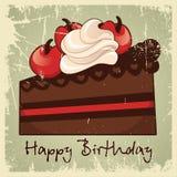 Tappning för lycklig födelsedag för kaka Royaltyfri Illustrationer