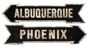 Tappning för metall för pil för Grunge för Albuquerque Phoenix gatatecken Retro royaltyfri fotografi