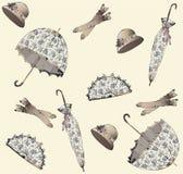 tappning för paraply för illustration för ventilatorhandskehatt Royaltyfria Bilder