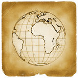 tappning för planet för jordjordklot gammal paper vektor illustrationer
