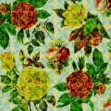 tappning för scrapbook för bakgrundscollage blom- Arkivbilder