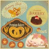 tappning för set för bagericafeetiketter Royaltyfria Bilder