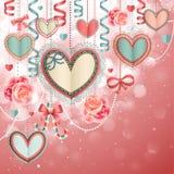 tappning för valentin för kortdag s Royaltyfria Bilder
