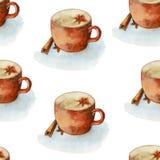 Tappning för vattenfärghandattraktion texturerade den sömlösa modellen för kaffekoppen vektor illustrationer
