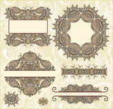 tappning för vektor för blom- ramillustration set Royaltyfria Bilder