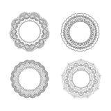 tappning för vektor för blom- ramillustration set Arkivfoton