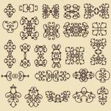 tappning för vektor för dekorativ elementillustration set För affärskort affischer, logoer, vykort, design Royaltyfri Illustrationer