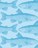 tappning för vektor för fiskmodell seamless Stock Illustrationer