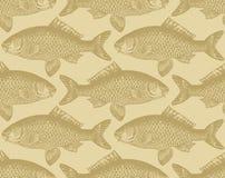 tappning för vektor för fiskmodell seamless Royaltyfri Illustrationer