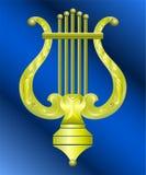 tappning för vektor för guldbildlyra Royaltyfria Bilder