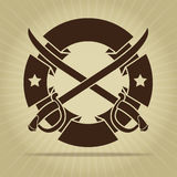 Tappning förseglar med korsade svärd Royaltyfri Fotografi