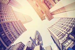 Tappning filtrerad fisheyebild av Manhattan Arkivbilder