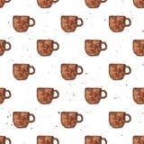 Tappning för vattenfärghandattraktion texturerade den sömlösa modellen för kaffekoppen Royaltyfria Bilder