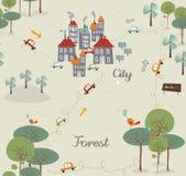 Tappning går den gröna stadsmodelldesignen Royaltyfri Bild