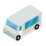 Tappning Grey Van Isometric Projection Vector Icon Vektor Illustrationer