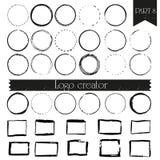 Tappning, handdrawn logobeståndsdelar för hipster med fyrkanter och cirklar stock illustrationer