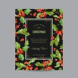 Tappning heliga Berry Christmas Card - vinterbakgrund Royaltyfria Bilder