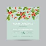 Tappning heliga Berry Christmas Card - vinterbakgrundsinbjudan Royaltyfria Bilder