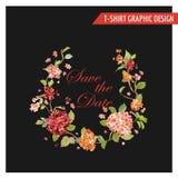 Tappning Hortensia Floral Graphic Design - för kortet, T-tröja Arkivfoto