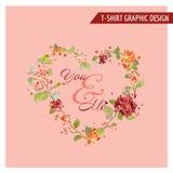 Tappning Hortensia Floral Graphic Design - för kortet, T-tröja Fotografering för Bildbyråer