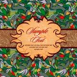 Tappning i ljust - göra grön med röda och brunt-trä brytningar royaltyfri illustrationer