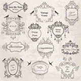 Tappning inramar och designelement för att gifta sig Royaltyfri Fotografi