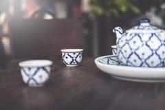 Tappning keramiska Kina, kinesiskt porslin, teservis royaltyfri fotografi