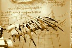 Tappning Leonardo Da Vinci Invention Fotografering för Bildbyråer