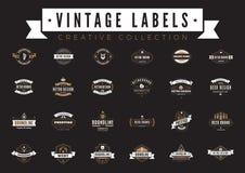 Tappning märker logovektorn KaffeölSale emblem royaltyfri illustrationer