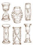 Tappning och moderna timglas skissar symboler Fotografering för Bildbyråer