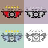 Tappning och Retro motorcykelklubba Logo Vector Set Mapp eps10 stock illustrationer