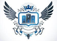 Tappning påskyndat emblem som skapas i design och komp för vektor heraldisk royaltyfri illustrationer