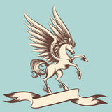 Tappning Pegasus med vingar och bandet stock illustrationer