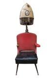 Tappning Retro Barber Hair Dryer And Chair Arkivbilder