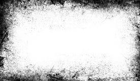 Tappning skrapade grungegränssamkopieringar på isolerad vit bakgrund stock illustrationer