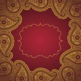 Tappning snör åt den Paisley ramen. Designmall Royaltyfri Illustrationer