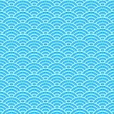 Tappning som belägger med tegel den sömlösa modellen med havsvågor Abstrakt retro prydnad som göras av enkla geometriska former Royaltyfri Bild