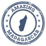 Tappning som förbluffar den Madagascar loppstämpeln med översikten Royaltyfri Foto