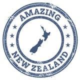 Tappning som förbluffar den nyazeeländska loppstämpeln med översikten Arkivfoto