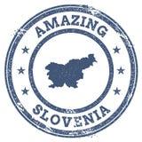 Tappning som förbluffar den Slovenien loppstämpeln med översikten Arkivfoton