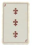 Tappning som spelar kortet av argt nummer 3 royaltyfri fotografi