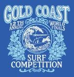 Tappning som surfar grafisk design för T-tröja Gold Coast bränningkonkurrens Arkivbild
