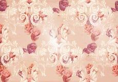Tappning steg blommor, och barockprydnader mönstrar vektorn gammal paper textur för bakgrundsgrunge Royaltyfria Foton