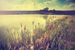Tappning tonad bild av sjön Royaltyfria Bilder
