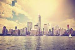 Tappning tonad solnedgång över Manhattan, NYC Royaltyfria Foton
