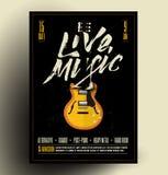 Tappning utformad Retro Live Rock Music Party eller händelseaffisch, reklamblad, baner kantlagrar låter vara vektorn för oakbandm vektor illustrationer