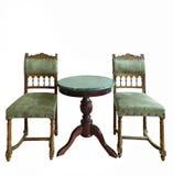 Tappning utformar bordlägger och varar ordförande vid isolerat Royaltyfri Fotografi