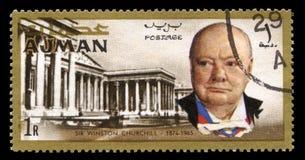 Tappning Winston Churchill Postage Stamp från Ajman Arkivfoto