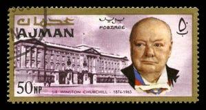 Tappning Winston Churchill Postage Stamp från Ajman Arkivfoton