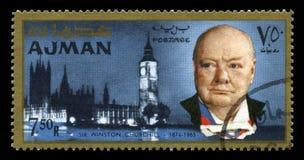 Tappning Winston Churchill Postage Stamp från Ajman Royaltyfria Foton